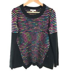 Ya Neon Black Loose Knit Draped Sweater